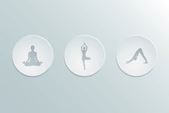 Icons yoga asanas. Set of icons yoga asanas. Cut-out paper Design.  Flat design. Vector illustration Stock Images