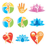 Icons_yoga_fitness. Set of yoga and fitness, colorful icons. Vector illustration Stock Photos