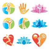 Icons_yoga_fitness Fotos de archivo