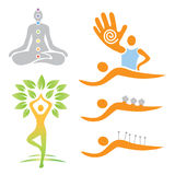 Icons yoga massage alternative medicine. Ilustrations of yoga and alternative medicine symbols. Vector illustration Royalty Free Stock Images