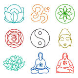 Icons of yoga. Vector illustration of set of icons of yoga Stock Image