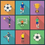 Icons of young people playing football . Vector illustration Stock Photos