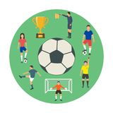 Icons of young people playing football . Vector illustration Royalty Free Stock Photos