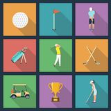 Icons of young people playing Golf. Vector illustration Royalty Free Stock Photos