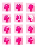 Icons zodiac female profiles Royalty Free Stock Photography