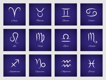 Icons with zodiac signs Stock Images