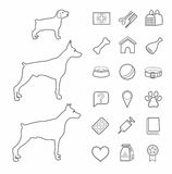 Icons, zoo, pet supplies, contour, black, dogs, age, white background. Linear, painted icons of pet products. The age of dogs, young, adult, old. Thin, single Stock Photos