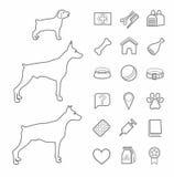Icons, zoo, pet supplies, contour, black, dogs, age, white background. Stock Photos