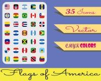 Iconset - banderas de América stock de ilustración
