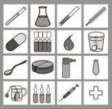 Iconset del cuidado médico blanco y negro Fotos de archivo libres de regalías