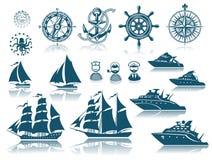 Iconset delle navi di navigazione e della bussola Fotografia Stock Libera da Diritti