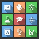 Iconset for educational app. For school isolated vector illustration Royalty Free Stock Photography