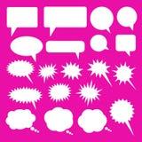 IconSet för molnnedladdningvektor av anförandebubblor Vita anförandebubblor för tom tom vektor Design för tecknad filmballongord stock illustrationer