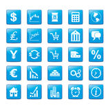 Iconset Markets. Icon set in blue style for markets Stock Image