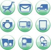 Iconset para e-hace compras Foto de archivo libre de regalías