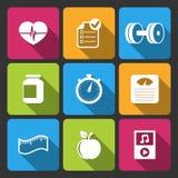 Iconset saudável do estilo de vida para a aptidão app Fotografia de Stock