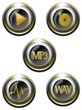 Iconset sound. Classy gold icons Stock Photos