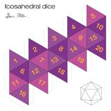 Icosahedral Dice Platonic Solid Template. Icosahedron template, icosahedral dice - one of the five platonic solids - make a 3d item with twenty sides out of the Royalty Free Stock Photos