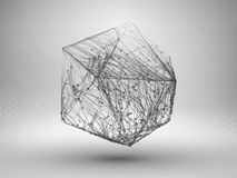 Icosahedron with connected lines and dots. Wireframe poligonal mesh motion element. Connection concept. Technology. Background. Vector illustration Royalty Free Stock Photos