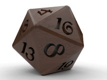Icosahedron game dice. 3D render illustration of a game dice. The object is isolated on a white background with shadows Stock Image
