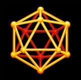 Icosahedron-Golddreidimensionale Form lizenzfreie stockfotografie