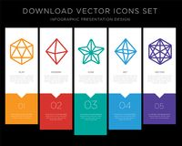 Icosahedron infographics design icon vector. 5 vector icons such as Icosahedron, Octahedron, Star, Cube for infographic, layout, annual report, pixel perfect Stock Photography