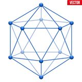 Icosahedron with molecular style. Royalty Free Stock Photos