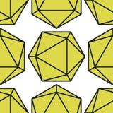 Icosahedron pattern vector2. Icosahedron pattern, platonic solids, monochrome geometrical pattern Stock Photo