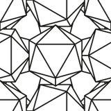 Icosahedron pattern vector4. Icosahedron pattern, platonic solids, monochrome geometrical pattern Stock Photo
