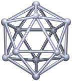 Icosahedron. A Platonic solid in geometry, a polyhedron with twenty triangular faces, thirty edges and twelve vertices. 3D vector structure isolated on white Stock Images