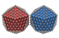 Icosahedron red and blue concept. 3D render of the networking concept. The concept uses two icosaheldron 3D model and multiple chrome spheres that link each Royalty Free Stock Images