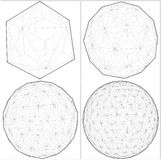 From Icosahedron To The Ball Sphere Lines Vector. From Icosahedron To The Ball Sphere Lines Illustration Vector Royalty Free Stock Photography