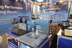 ICT  Fair in Kolkata. KOLKATA- FEBRUARY 20: An INTEL booth displaying laptops and processors, during the Information and Communication Technology (ICT) Stock Images