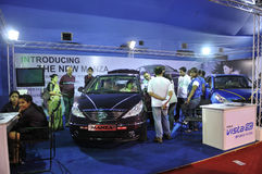 ICT  Fair in Kolkata. KOLKATA- FEBRUARY 20: A TATA company booth where people seeing different car models during  the Information and Communication Technology ( Stock Image