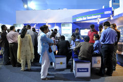 ICT  Fair in Kolkata. KOLKATA- FEBRUARY 20: Visitors gathering inside the booth of NOKIA , during the Information and Communication Technology (ICT) conference Stock Photography