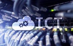 ICT - informaci i technologii komunikacyjnej pojęcie na serweru pokoju tle Obraz Stock