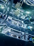 ICT - information and communications technology concept on server room background.  stock photography