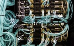 ICT - information and communications technology concept on server room background. ICT - information and communications technology concept on server room Stock Photography