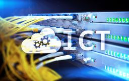 ICT - information and communications technology concept on server room background. ICT - information and communications technology concept on server room Royalty Free Stock Photos