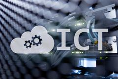 ICT - information and communications technology concept on server room background.  royalty free stock photo