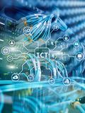 ICT - information and communications technology concept on server room background.  stock images