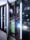 ICT - information and communications technology concept on server room background.  royalty free stock photography