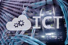 ICT - information and communications technology concept on server room background.  royalty free stock image