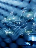 ICT - information and communications technology concept on server room background.  stock photo