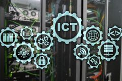 ICT. Information and communications technology on modern server room background. Virtual screen. ICT. Information and communications technology on modern server stock illustration