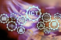ICT. Information and communications technology on modern server room background. Virtual screen. vector illustration