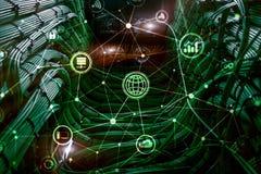 ICT - informations- och telekommunikationteknologi och IOT - internet av sakerbegrepp Diagram med symboler på serveren hyr rum ti vektor illustrationer