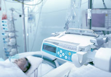 ICU ward with patient unconscious. Patient unconscious in the intensive care units Royalty Free Stock Photography