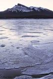 Icy Abraham Lake and Kista Peak Stock Image