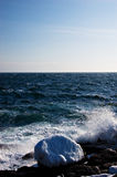 Icy Atlantic coast. With waves crashing royalty free stock photography